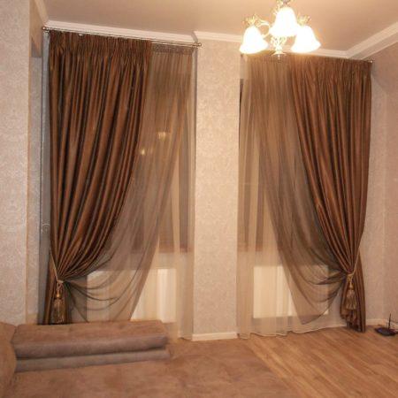 готовые шторы для гостиной тюль шоколад