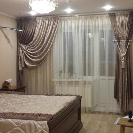 готовые шторы для спальни шоколад