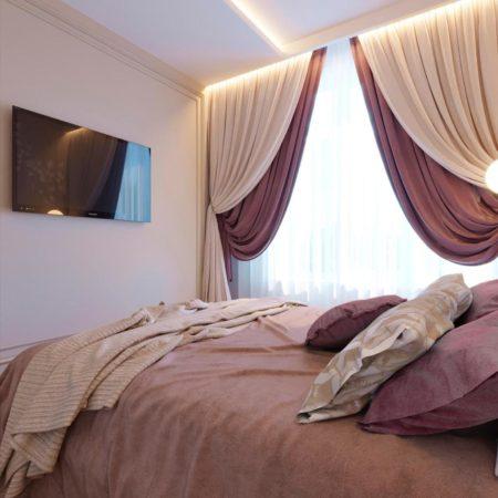 стильные готовые шторы в спальню