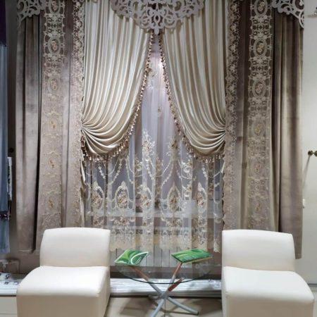 готовые шторы для гостиной ажурный ламбрекен