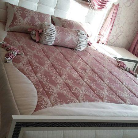 готовые шторы для спальни розовые