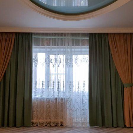 готовые шторы для спальни тюль вышивка