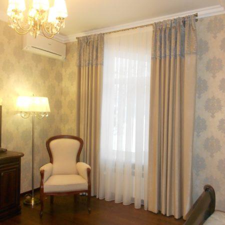 готовые шторы для гостиной комбинированные вышивка