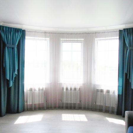 готовые шторы для гостиной эркер бирюза