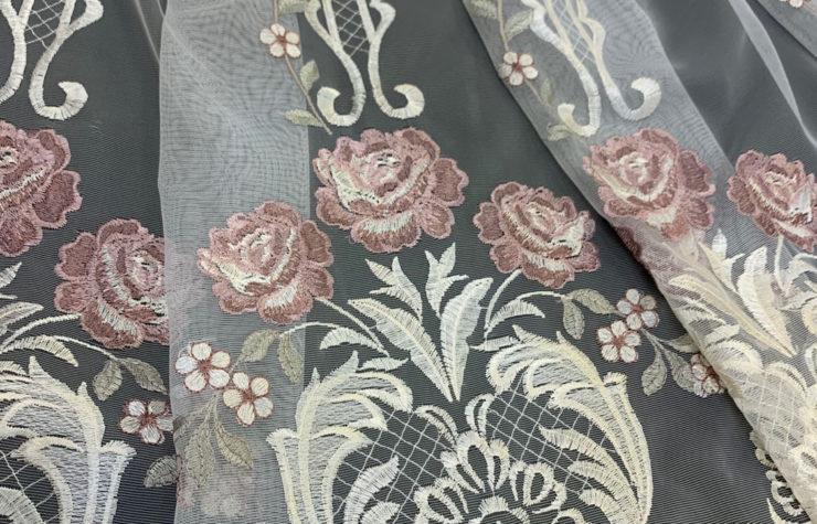 купить тюль вышивка розы