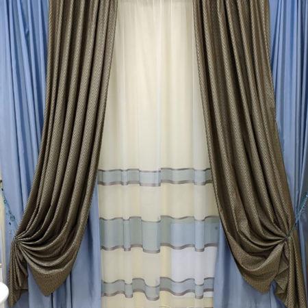 готовые шторы комплект два цвета