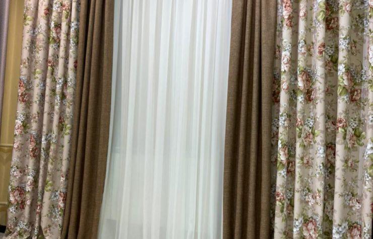 комплект готовых штор цветы рогожка
